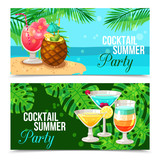 Tropical Cocktails Horizontal Banners