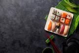 Fototapety Set of sushi, maki and green tea