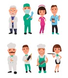 Set icon character cook and doctor.