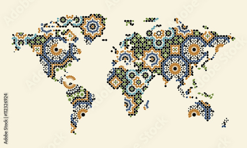 World Map With Morocco Mosaic - 112326924
