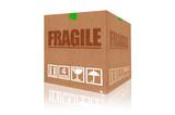 Fragile cardboard box isolated on white background