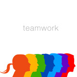 A diverse group of people in this teamwork graphic for print or web