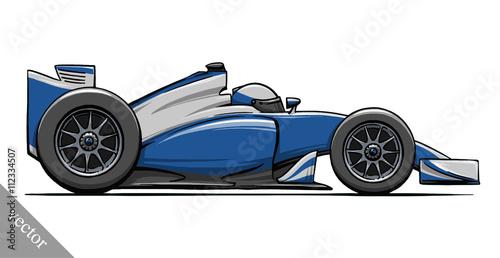 Naklejka child's funny cartoon formula race car vector illustration art