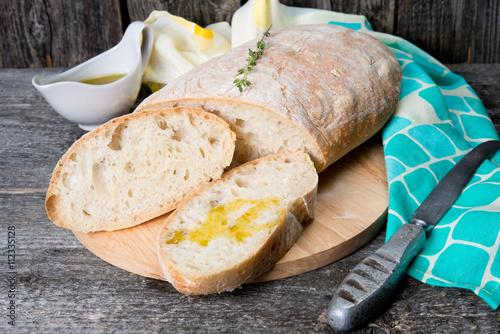 fototapeta na ścianę Traditional Italian bread ciabatta
