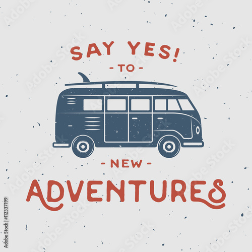 Vintage retro poster with hippie van, surfboard and travel quote плакат
