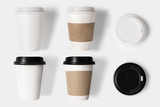 Design concept of mockup coffee cup set and lid set on white bac