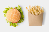 Concept of mock up burger and french fries on white background.
