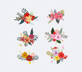 Spring floral clusters, flower wreaths, bouquets elements