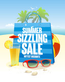Summer sizzling sale with blue shopping bag on a beach  backdrop with palms