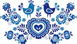 Folk ornaments Simplified folk ornaments from a Slovacko area in a blue version - 112363552