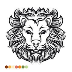 Wild lion coloring page with colors samples. Vector illustration