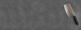 Feuille hachoir de boucher sur ardoise, carte, menu,bannière  - 112369551