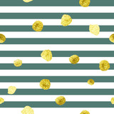 Trendy gold glitter seamless polka dot and stripes pattern.