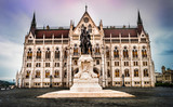 statue of Count Gyula Andrassy in front of the Hungarian Parliament building