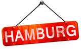 Hamburg, 3D rendering, a red hanging sign