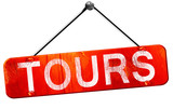 tours, 3D rendering, a red hanging sign