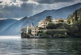 Lake Como Villa: The old Villa del Balbianello viewed from a ferry boat on Lake Como near Lecco, Italy - 112383191