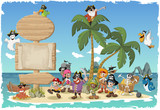 Fototapety Wooden sign on a beautiful tropical island with cartoon pirates.