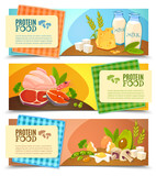 Protein Food Flat Horizontal Banners Set