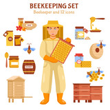 Beekeeping Honey Illustration Icon Set