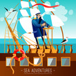 Постер, плакат: Sea Adventures Cartoon Illustration