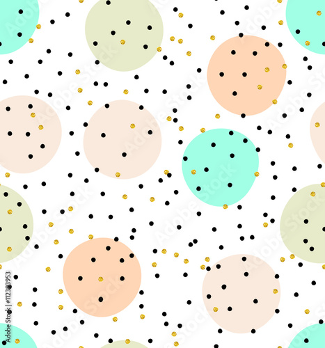 Cute kids polka dot colorful seamless vector pattern with glittering gold and solid pastel shades pink, green and beige dots and circles on solid white background. - 112393953