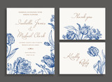 Fototapety Wedding set with spring flowers.