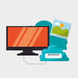 Cloud computing design. Media icon. Isolated illustration