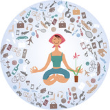 Cartoon woman sitting in yoga pose, surrounded by a cloud of stuff, EPS 8 vector illustration, no transparencies - 112411539