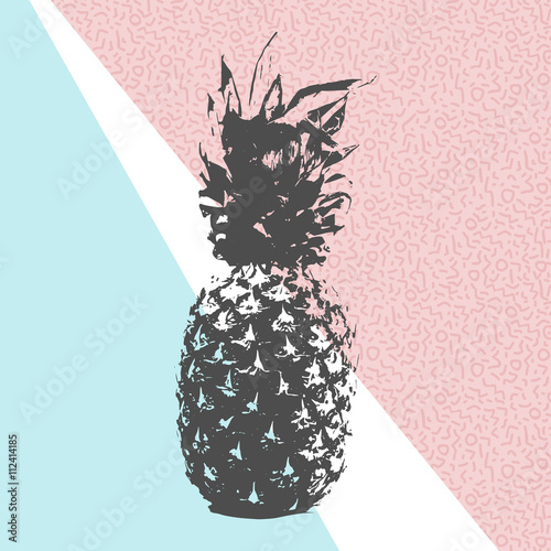 Obraz na Szkle Retro summer pineapple design with 80s shapes