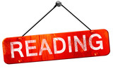 reading, 3D rendering, a red hanging sign