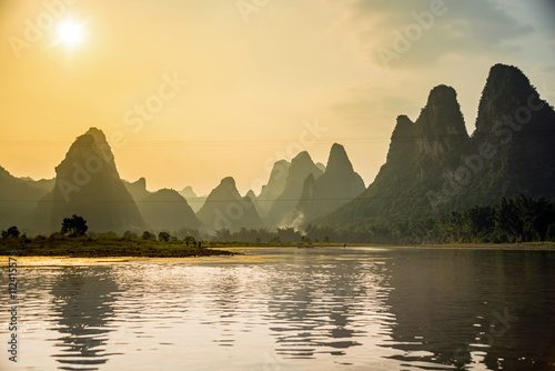 Plexiglas Guilin Lijiang und Karstberge in Guilin, China