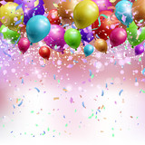 Balloons, confetti and streamers background
