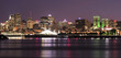 Montreal skyline and St Lawrence River at night