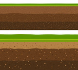 Layers of grass with Underground layers of earth, seamless ground surface design. - 112443964