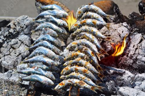Fototapeta Sardines to grilled on the beach in Malaga Spain