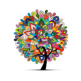 Mandala tree, floral sketch for your design