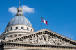 Paris pantheon capitol with french flag detail