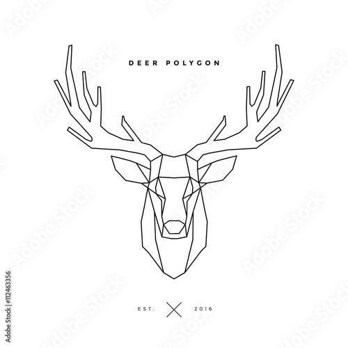 Canvas Hipster Hert deer frame on white