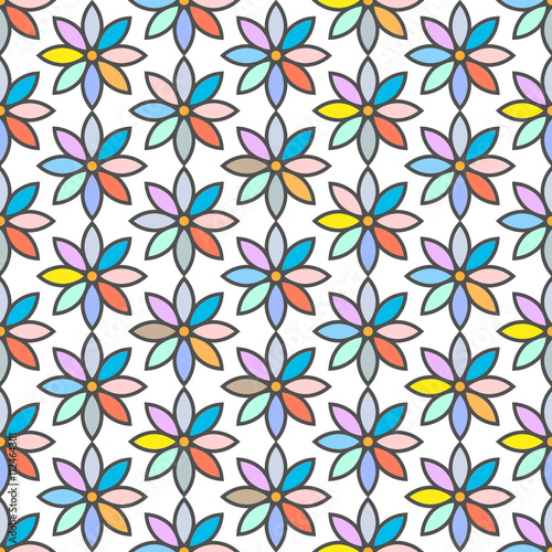 Staande foto Kunstmatig Retro seamless pattern with stylized daisies