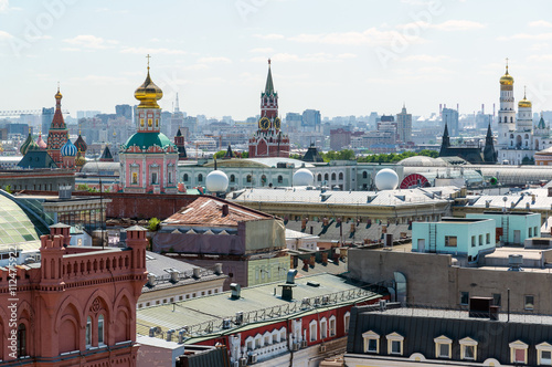 Fototapeta View to Downtown, Spassky tower, bell tower of Ivan the Great in Moscow. Russia