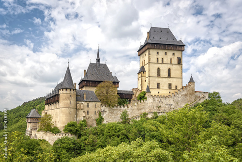 Fotobehang Vestingwerk Karlstein, Czech Republic - May 26, 2016: Karlstein Castle is a large Gothic castle founded in 1348 by King Charles IV, Holy Roman Emperor and King of Bohemia.