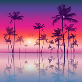 Exotic tropical palm trees at sunset or sunrise, with colorful