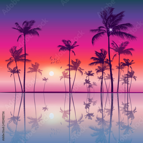 Poster Snoeien Exotic tropical palm trees at sunset or sunrise, with colorful