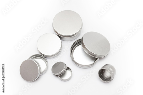 Plakát silver metal containers for cosmetics