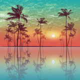Exotic tropical palm trees  at sunset or moonlight, with cloudy - 112483129