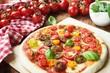 Fresh colorful Pizza Margherita