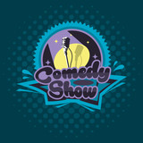 Comedy Show Concept. Emblem Template. Vector Illustration.