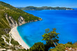 Greece. Ionian Islands - Cephalonia (Kefalonia). Myrtos beach - the most beautiful beach of the island and one of the most beautiful beaches in Europe