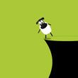 Schaf an der Klippe